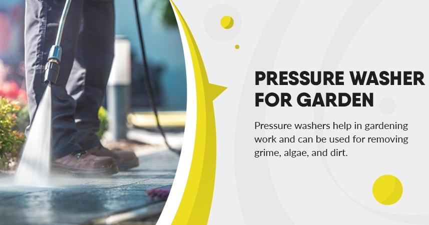 Pressure washer for garden. Gardening tools.