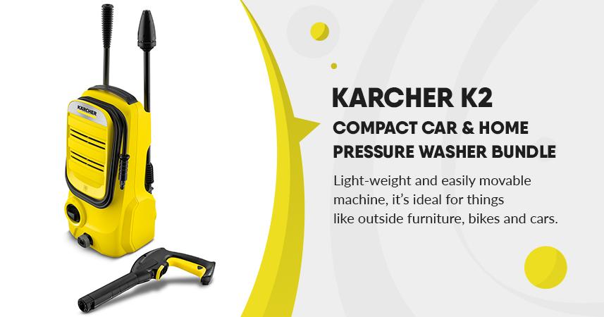 Karcher K2 compact Car & Home Pressure Washer Bundle – 1400w, 110 bar