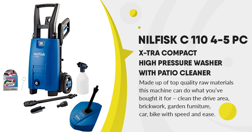 Nilfisk C 110 4-5 PC x-tra Compact High Pressure Washer with Patio Cleaner Review